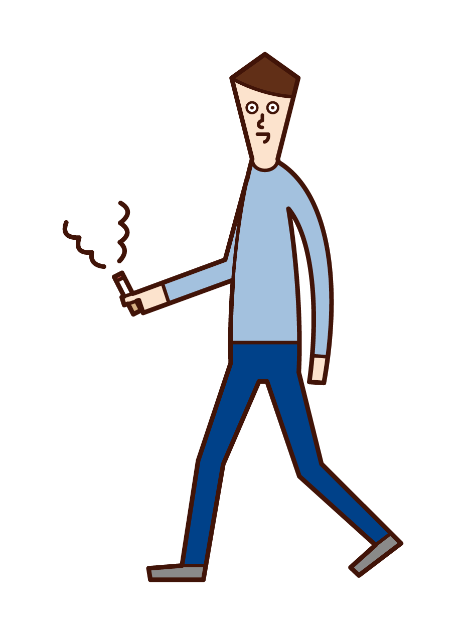 Illustration of a man smoking a cigarette while walking