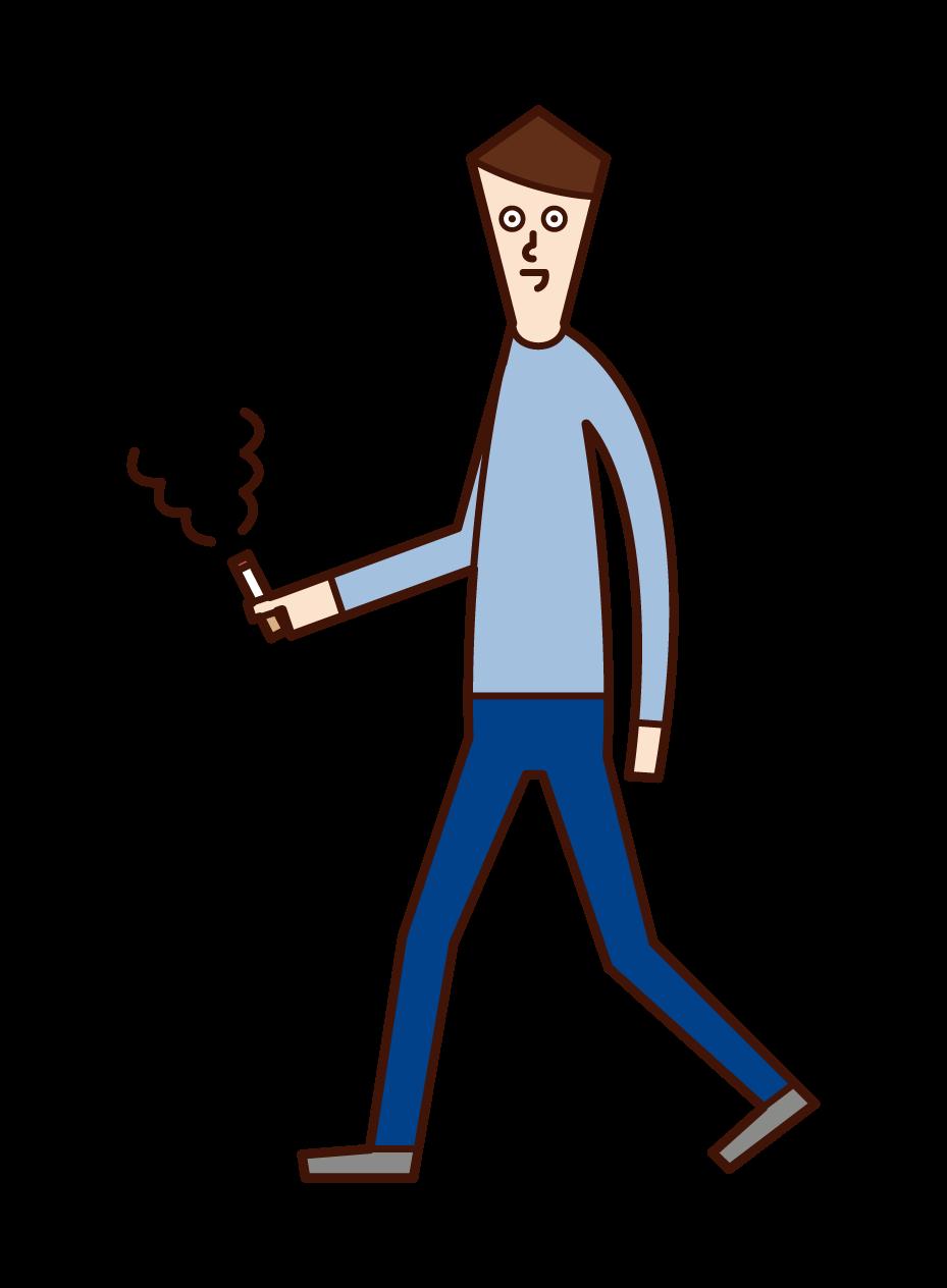 걸을 때 담배를 피우는 사람(남성)의 일러스트
