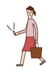 Illustration of a woman smoking a cigarette while walking