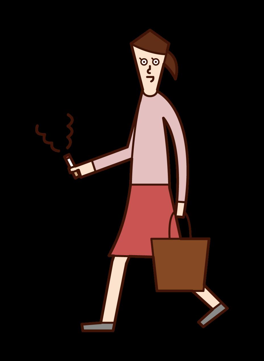歩きながらタバコを吸う人(女性)のイラスト