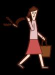 タバコを路上に捨てる人(女性)のイラスト