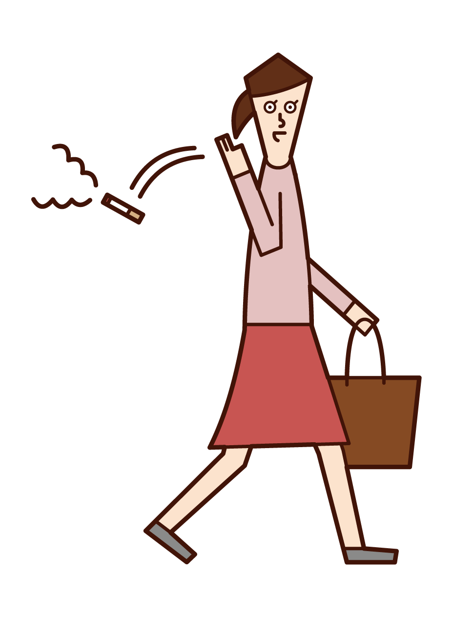 Illustration of a woman throwing a cigarette on the street