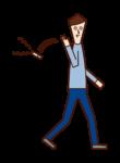 タバコを路上に捨てる人(男性)のイラスト