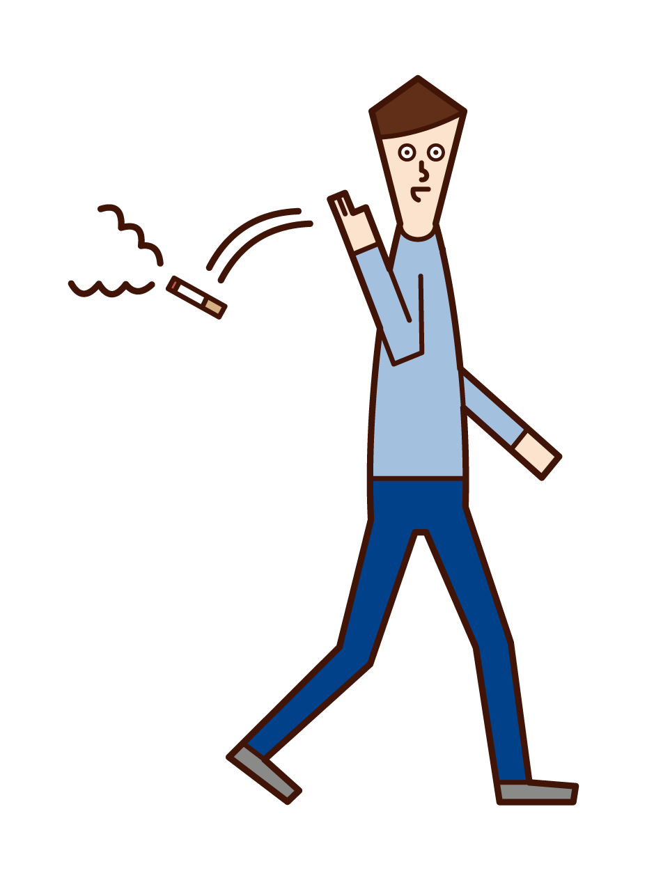 Illustration of a man throwing a cigarette on the street