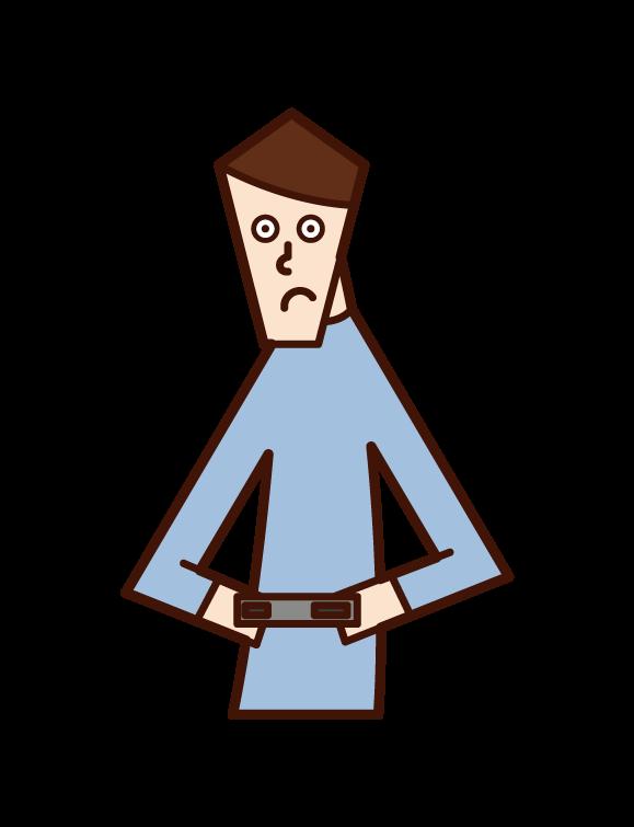テレビゲームをする人(男性)のイラスト