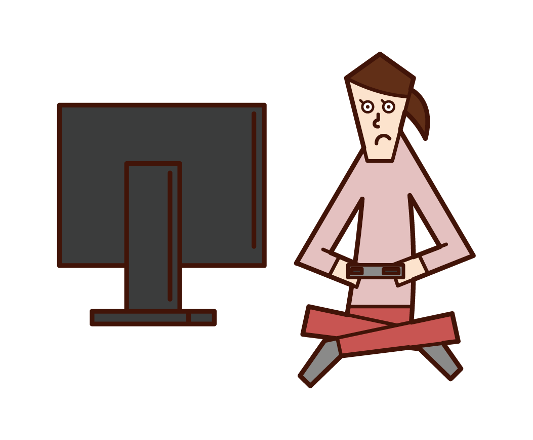 Illustration of a woman playing video games