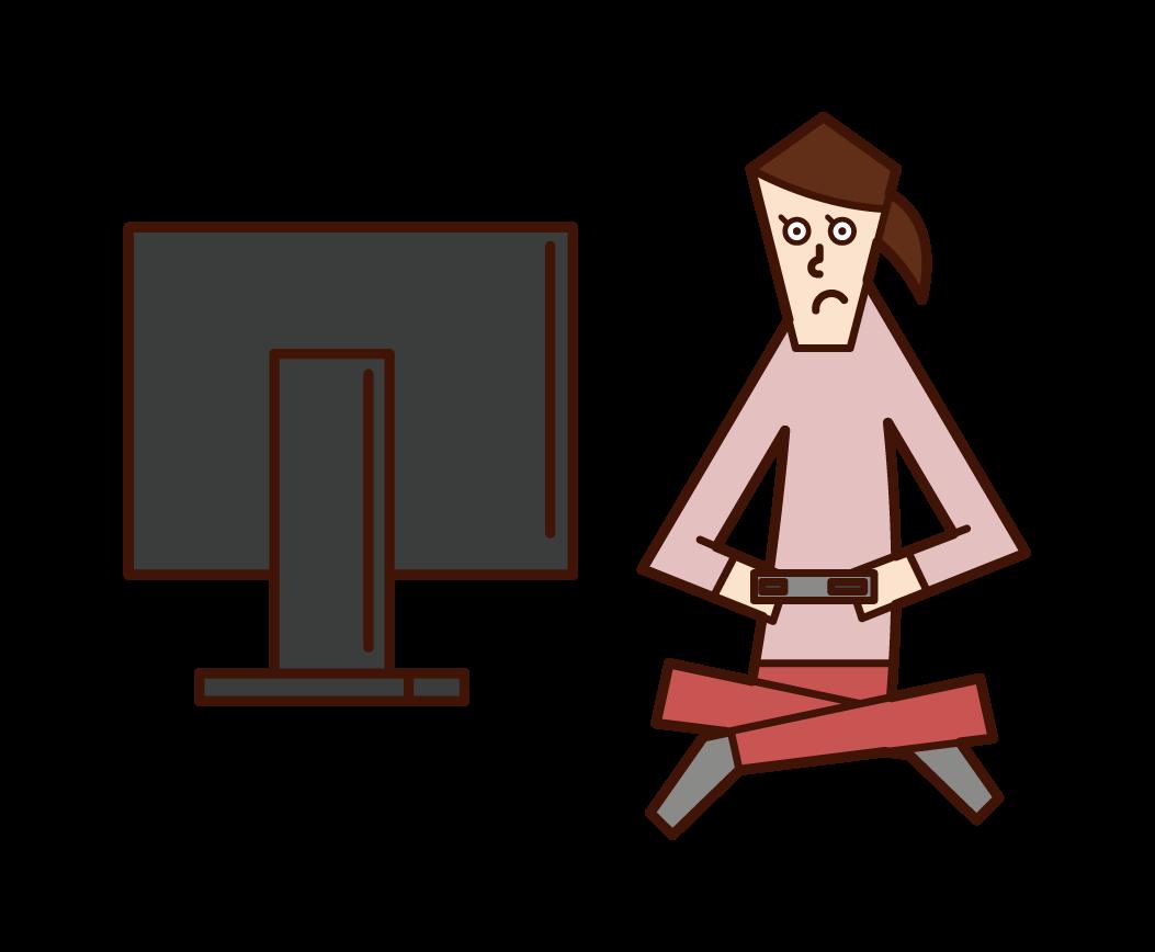 비디오 게임을 하는 사람(여성)의 일러스트