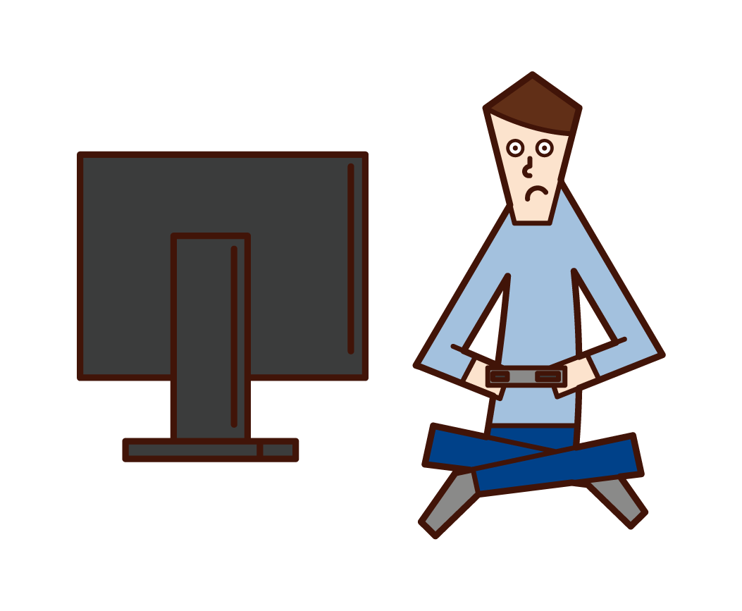 Illustration of a man playing video games