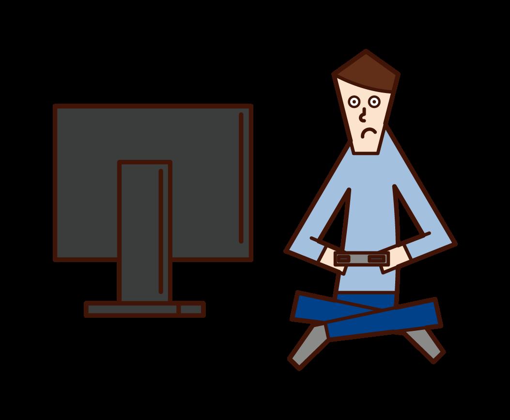 비디오 게임을 하는 사람(남성)의 일러스트