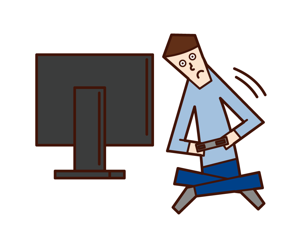 Illustration of a person (man) who moves while playing video games