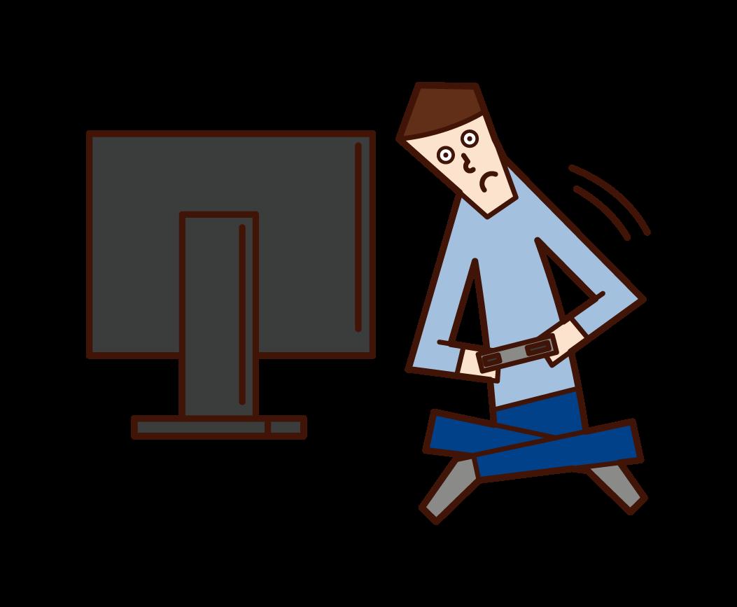 비디오 게임을 할 때 신체가 움직이는 사람(남성)의 일러스트입니다