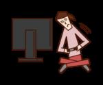 テレビゲームをしながら体が動く人(女性)のイラスト