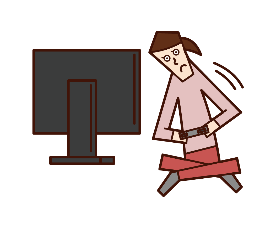 비디오 게임을 할 때 몸이 움직이는 사람 (여성)의 일러스트