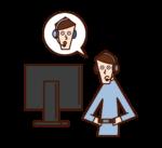オンラインゲームをする人(男性)のイラスト