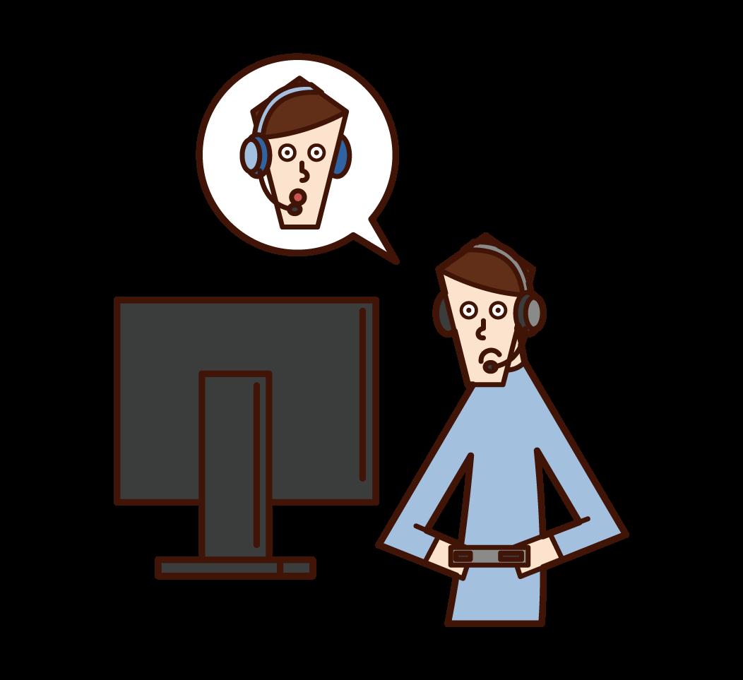 온라인 게임을 하는 사람(남성)의 일러스트