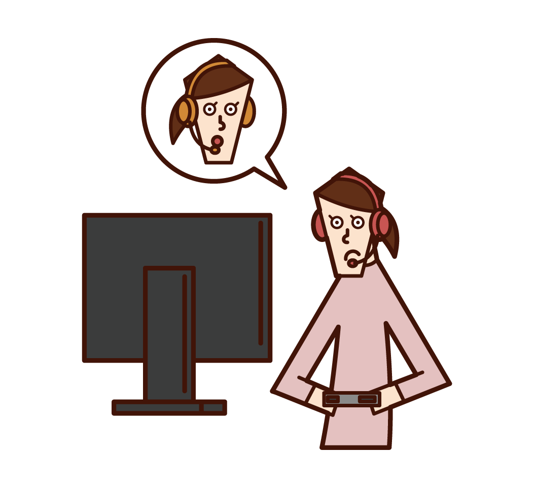 Illustration of a woman playing an online game