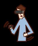 玩VR遊戲的人(男性)的插圖