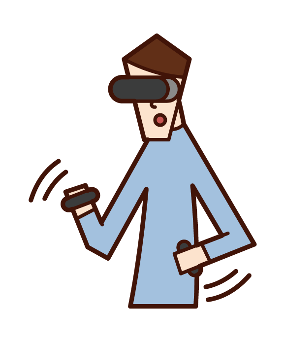 Illustration of a man playing VR games