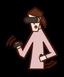 玩 VR 遊戲的人(女性)的插圖