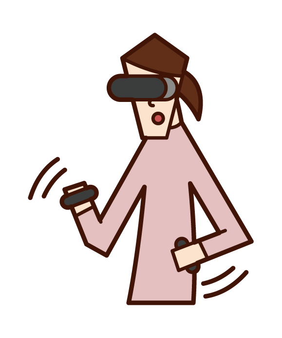 Illustration of a person (woman) playing VR games