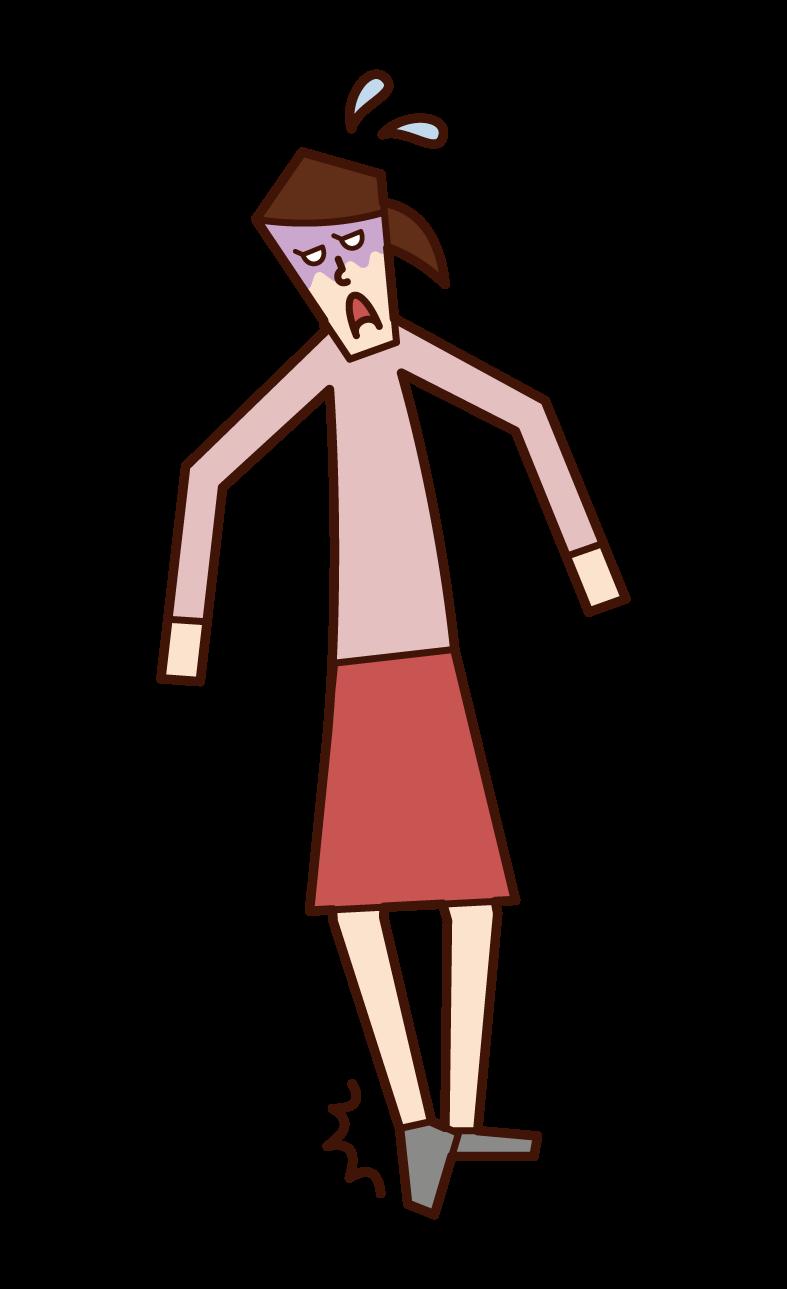 捻挫(女性)のイラスト