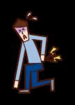 腰痛で立ち上がれない人(男性)のイラスト