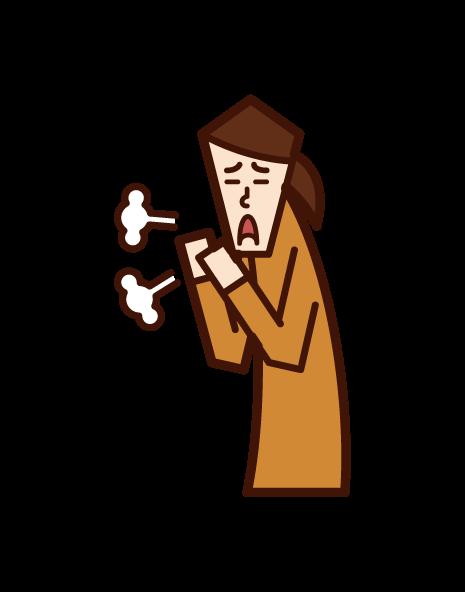 百日咳・咳をする子供(女子)のイラスト