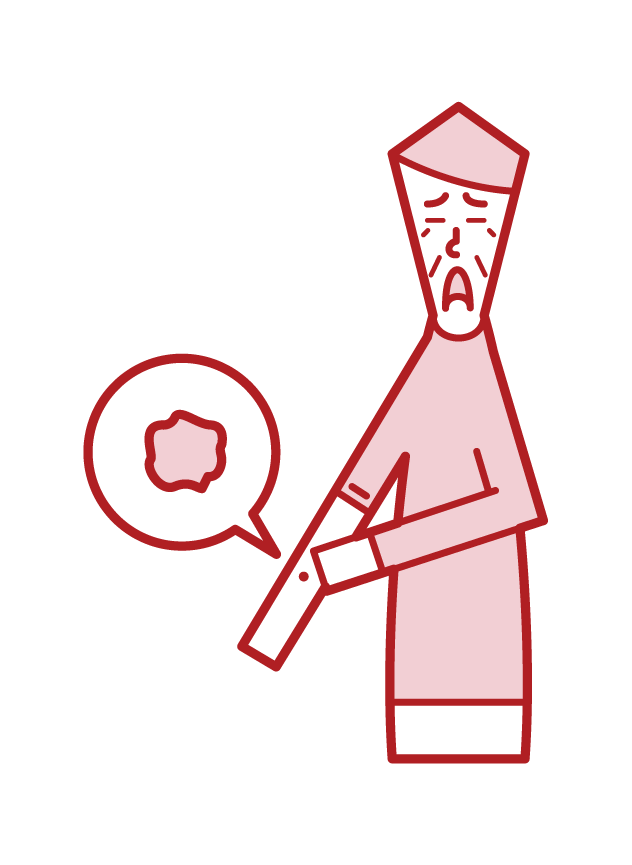 Illustration of skin cancer (old father)