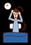 Illustration of oversleeping and late (man)