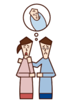 Illustration of a couple infertility treatment for infertility