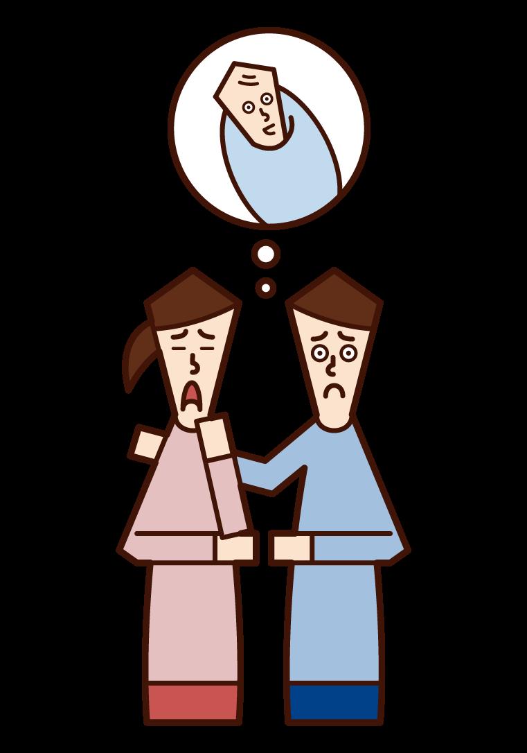 不妊症で不妊治療をする夫婦のイラスト