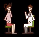 診察で病気を告げられる患者(女性)のイラスト