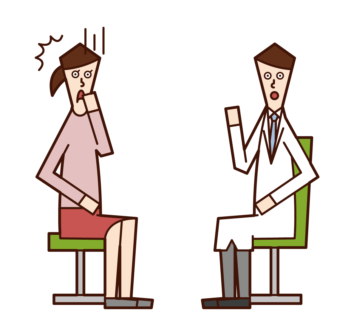 Illustration of a patient (woman) who is told of illness at a medical examination