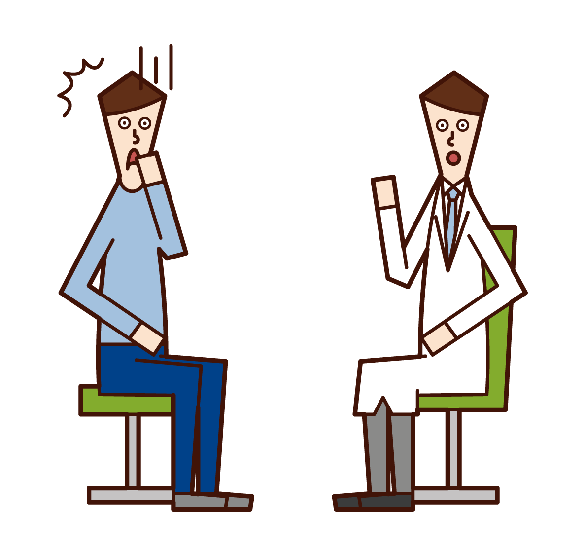 Illustration of a patient (male) who is told of illness at a medical examination