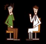 診察で病気を告げられる患者(おじいさん)のイラスト