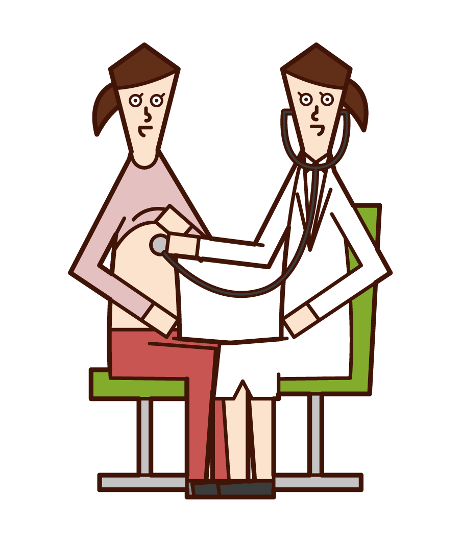 Illustration of a doctor (woman) examining a patient with a stethoscope