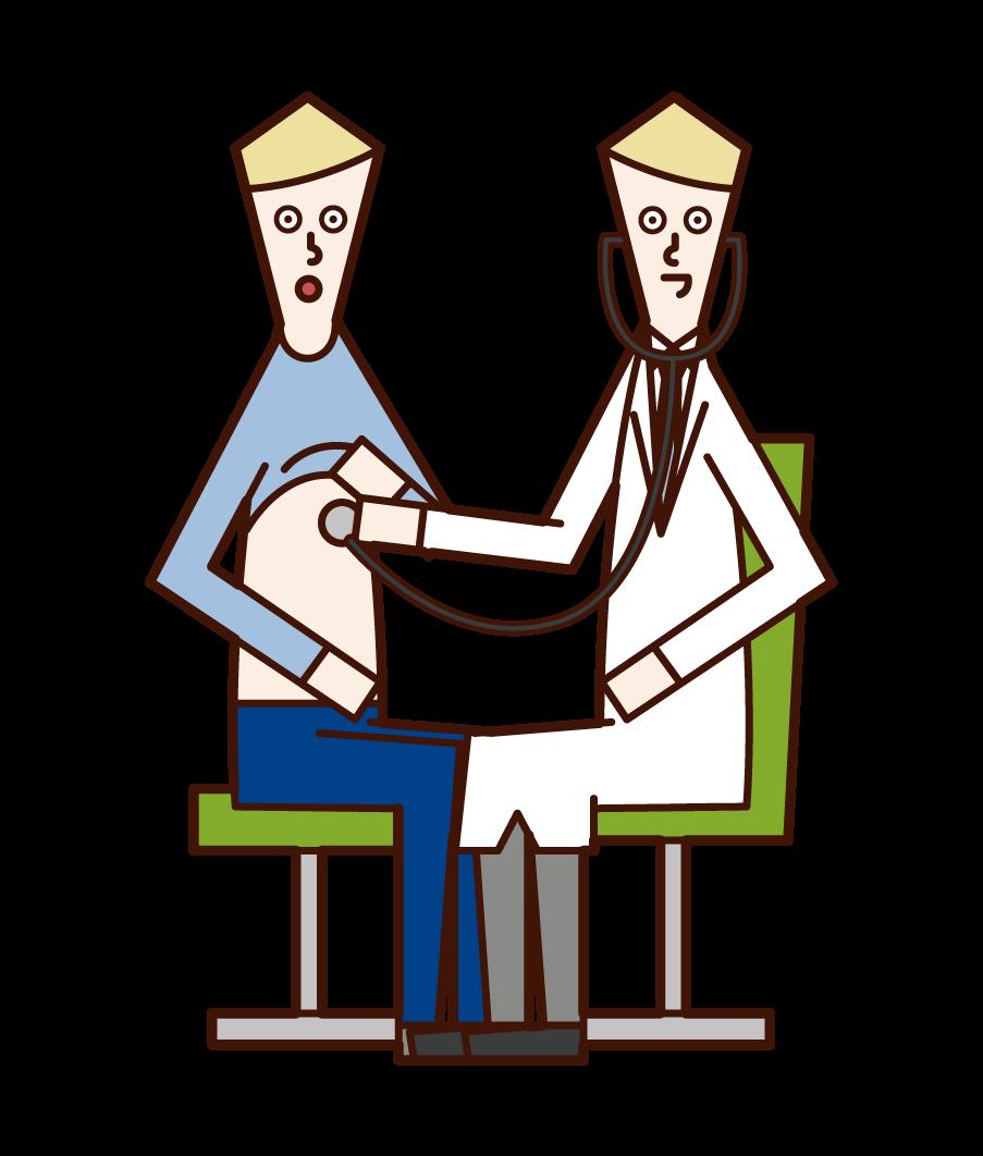 聴診器で患者を診察する医者(男性)・内科検診のイラスト