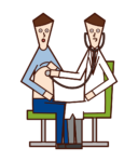 Illustration of a doctor (male) examining a patient with a stethoscope