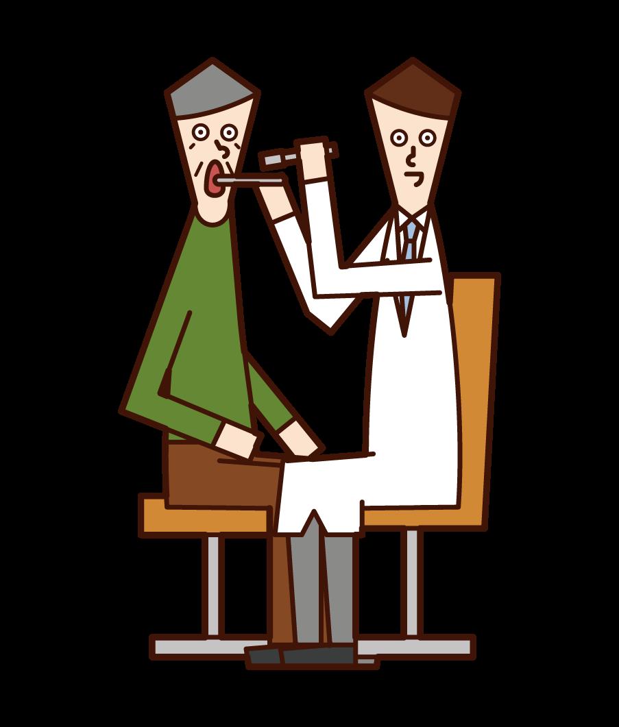 Illustration of a doctor (man) examining his throat