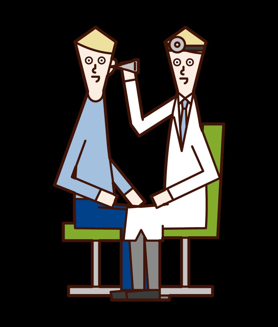 이비인후과에서 귀 검사를 하는 의사(남성)의 일러스트