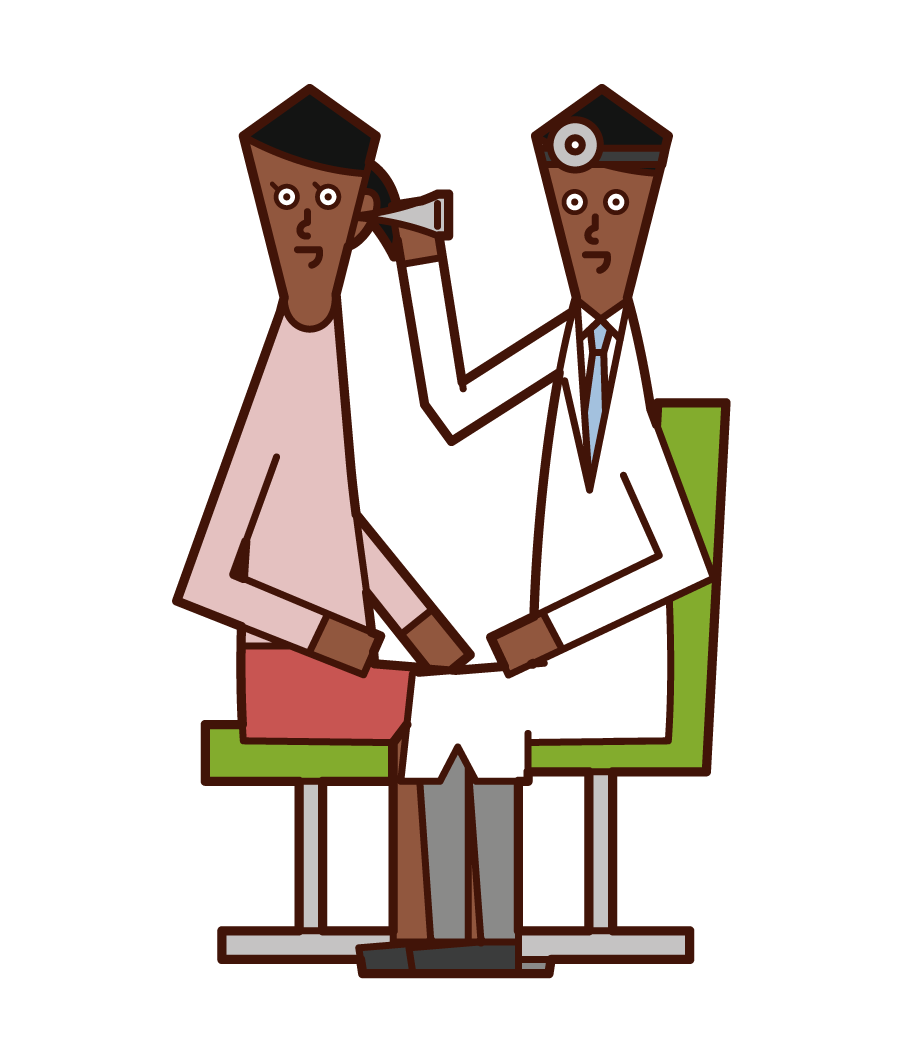 Illustration of a doctor (male) who tests his ears in the otorhinology department