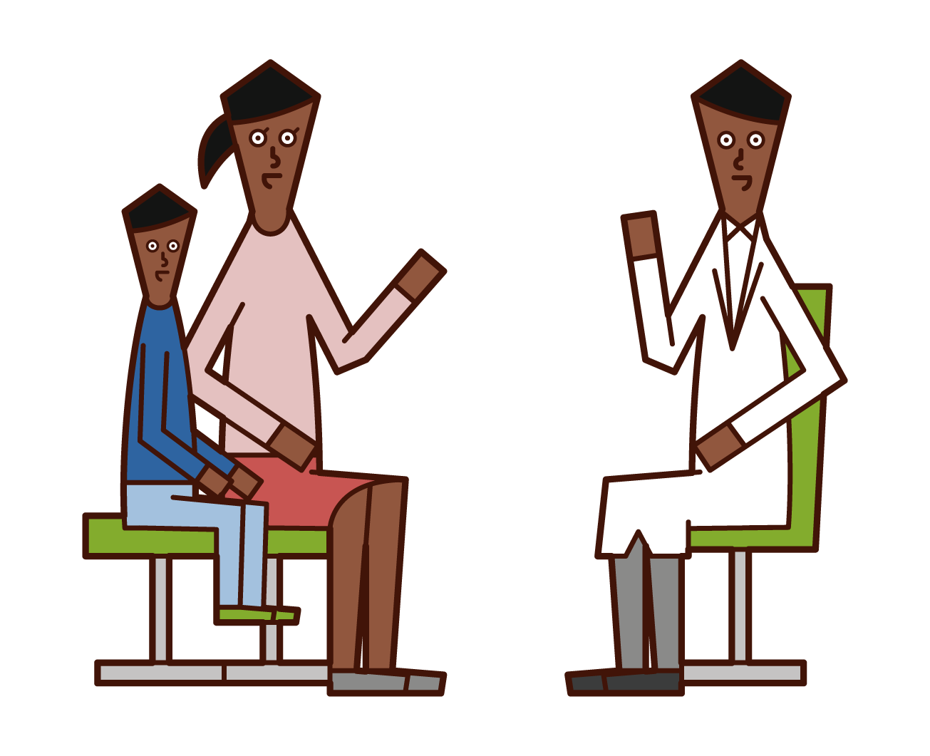 Illustration of a parent (woman) who is at a child's examination
