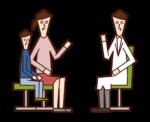 子供の診察に立ち会う親(女性)のイラスト
