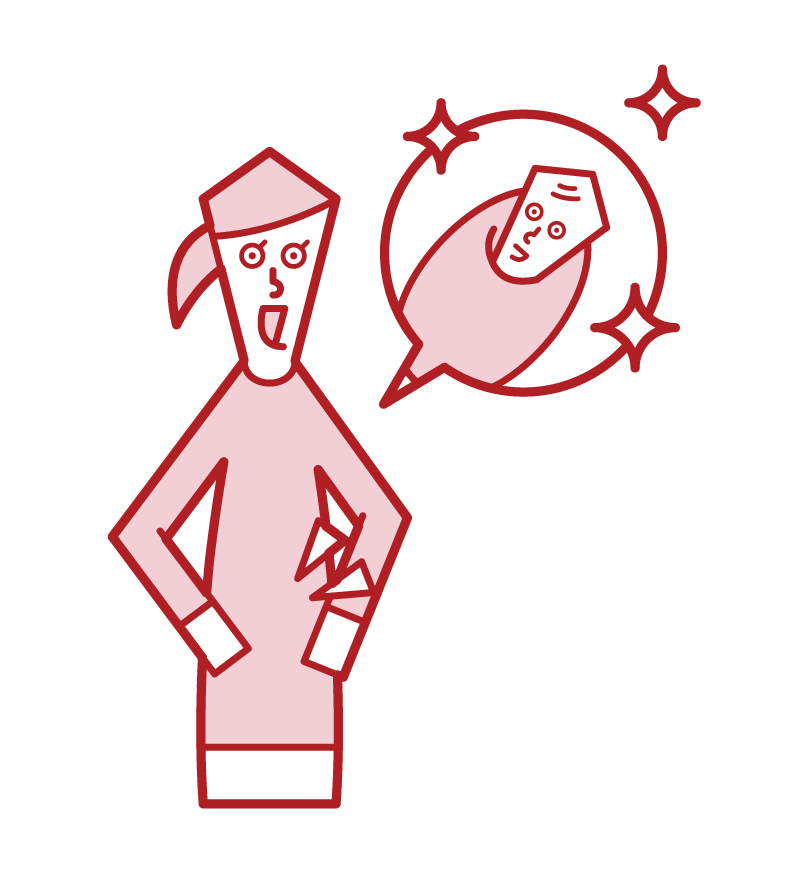 Illustration of a person (woman) with successful fertility treatment