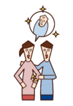 Illustration of a couple with successful infertility treatment