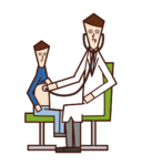 Illustration of a doctor (male) examining a child