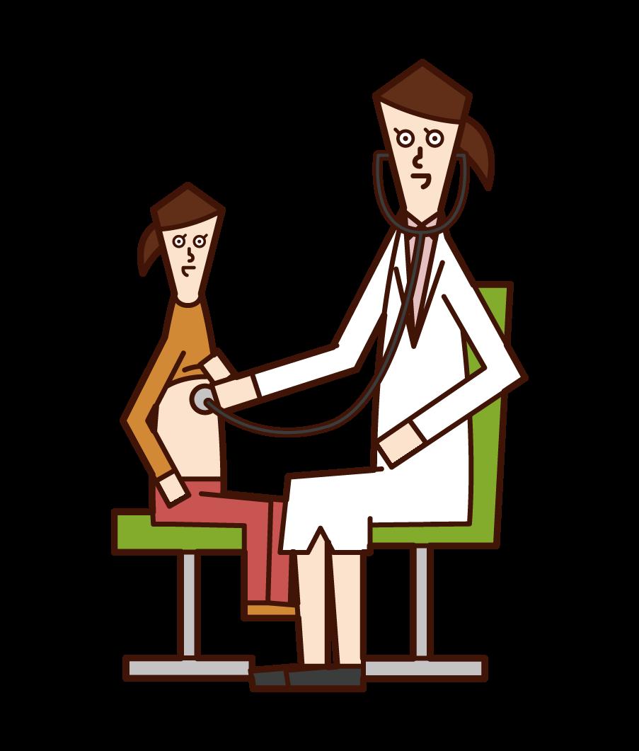 子供の診察をする医者(女性)のイラスト