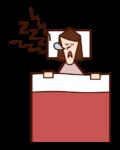 いびきをかく人(女性)のイラスト