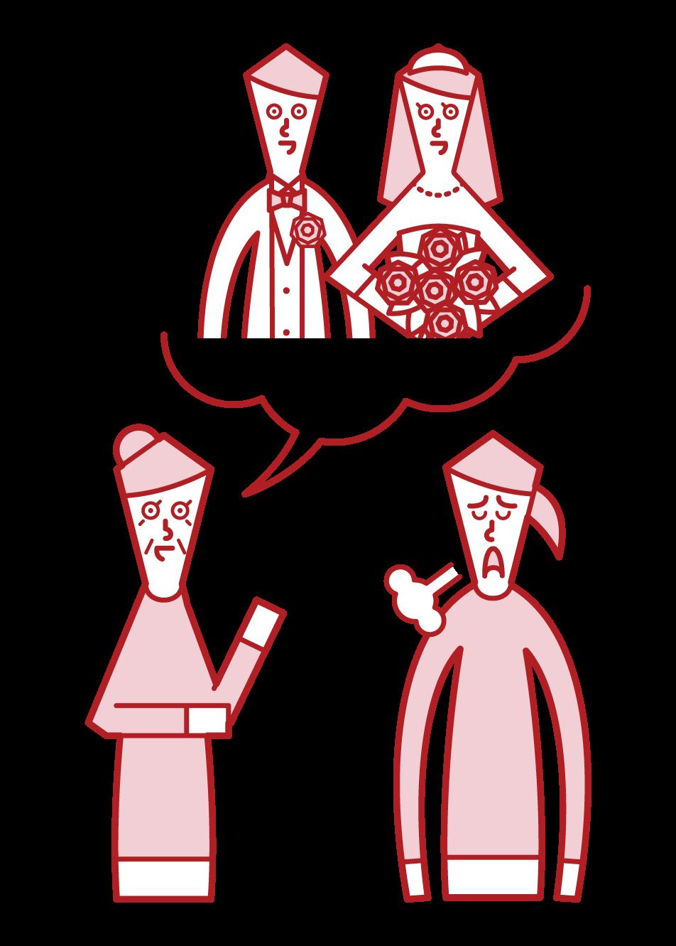 娘の結婚を期待する親(女性)のイラスト