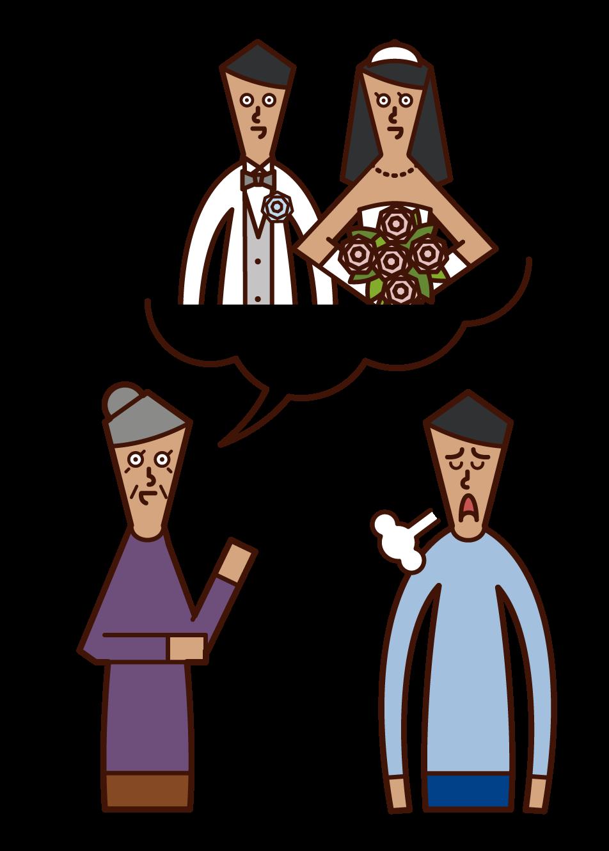 부모(여자)는 아들의 결혼을 고대하고 있는 일러스트